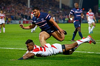 during the 2015 Rugby World Cup Pool B match between USA and Japan at Kingsholm Stadium on October 11, 2015 in Gloucester, United Kingdom.